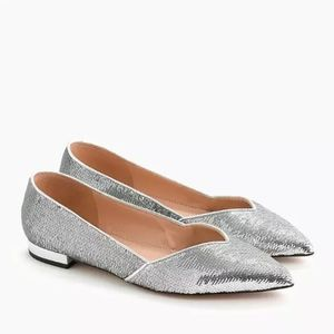 J Crew Gwen Pointed D'Orsay Sequin Flats 9.5 NEW